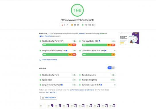Results page speed performance