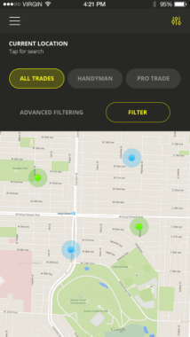 Rite App Screenshot map screen search